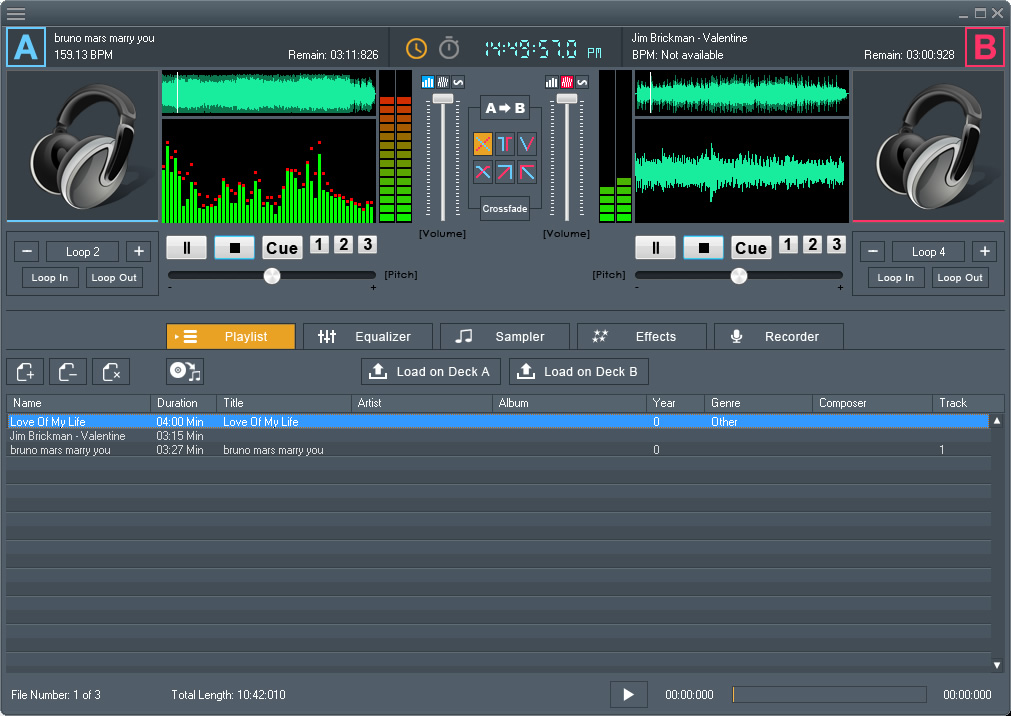 Audio mixing software for DJ