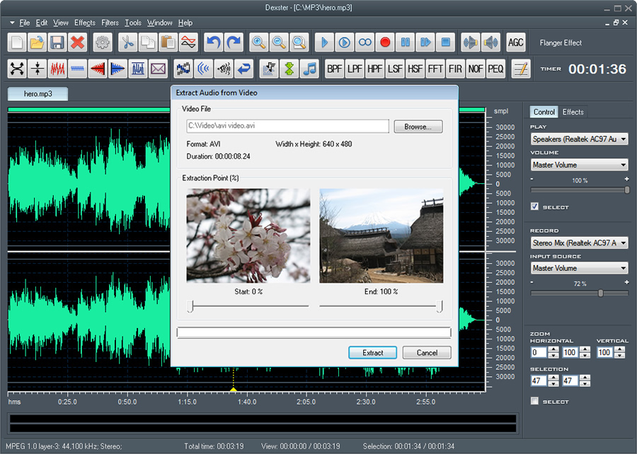 Dexster audio editor edit audio files visually