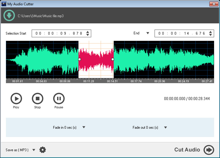 Click to view My Audio Cutter 1.2 screenshot