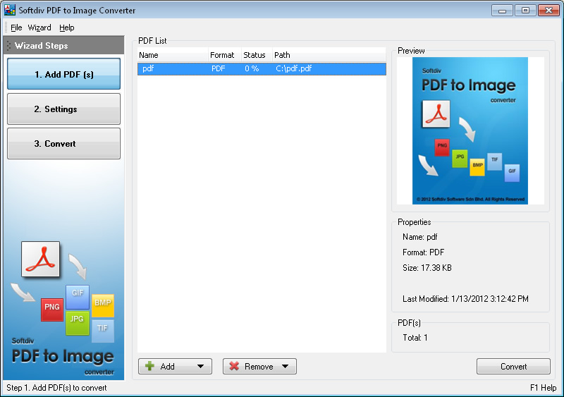 Click to view Softdiv PDF to Image Converter 1.3 screenshot